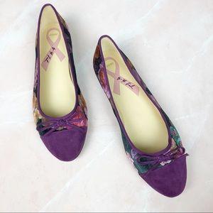 Marc Fisher Purple Velvet Bow Detail Flats